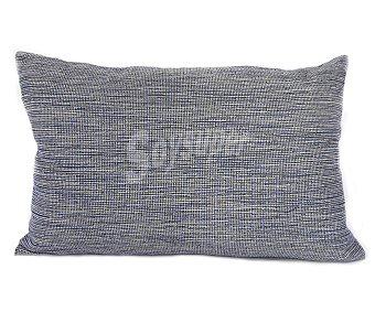 Auchan Cojín cheviot liso jaspeado color azul con decoración de lazos, cierre de cremallera, 30x50 centímetros 1 unidad