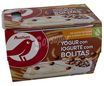 PRODUCTO ALCAMPO Yogur de vainilla con bolitas de chocolate negro, con leche y blanco 2 x 122 g