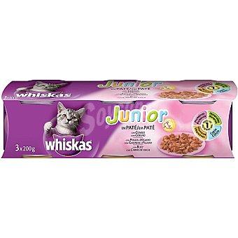 WHISKAS Junior Para gato selección de patés para gatitos Pack 3 lata 200 g