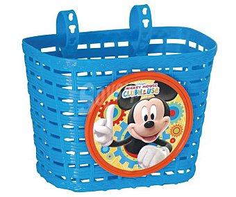 Disney Cestita de transporte de plástico para bicicletas, color azul con con diseño de Mickey, 22,5x19,5x13 centímetros 1 unidad