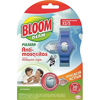 Bloom Pulsera repelente de mosquitos Común y Tigre talla pequeña xs/s de 3 a 9 años + 2 pastillas Derm Repel Pulsera + 2 pastillas
