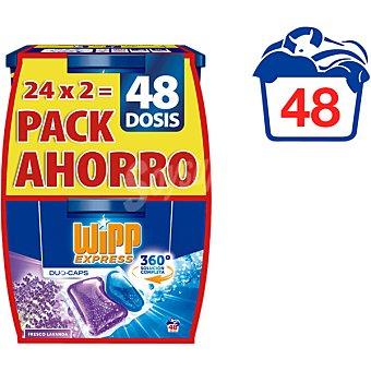 Wipp Express Duo-Caps detergente máquina líqudo frescor Lavanda x24 envase 48 cápsulas pack ahorro pack 2