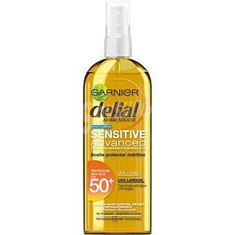 Delial Garnier Sensitive advanced aceite protector nutritivo FP-50 resistente al agua spray 150 ml para pieles claras sensibles e intolerantes al sol Spray 150 ml