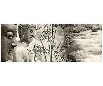 IMAGINE Cuadro con la imágenes en blanco y negro de Budda y de un rio y dimensiones de 30x80 centímetros 1 unidad