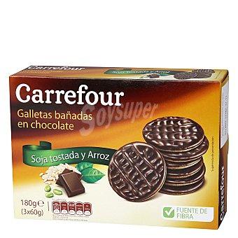 Carrefour Galleta con granillo de soja tostado, fibra, arroz y bañada en chocolate 180 g