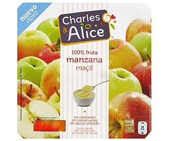 Charles & Alice Compota de manzana sin azúcares añadidos (contiene los azúcares naturalmente presentes) 4 unidades de 100 gramos