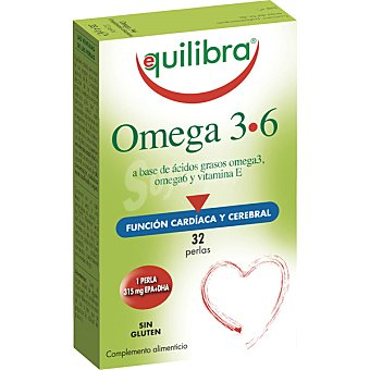 Equilibra Omega 3-6 con funcionalidad cardiaca y cerebral sin gluten envase 32 perlas