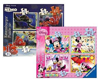 Disney Caja con 4 Puzzles de 12, 16, 20 y 24 Piezas 1u