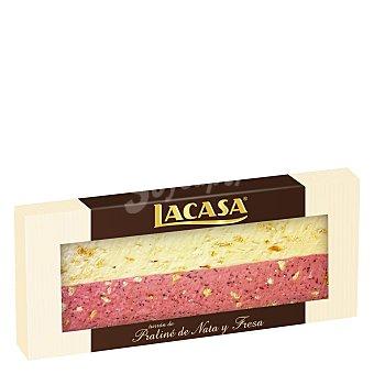 Lacasa Turrón de praliné de nata y fresa 250 g