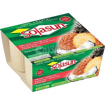 Sojasun Especialidad fresca de soja con trozos de piña y coco Pack 4 unidades 100 g