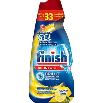 FINISH Detergente lavavajillas todo en 1 Max en gel concentrado limón brillo y protección del cristal 28 lavados (Botella de 560 ml)