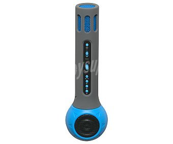 Denver Micrófono karaoke Bluetooth, lector de tarjetas microsd, color azul y gris KMS-10