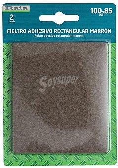 RAIA Fieltro Adhesivo Rectangular Doble y Marrón de 100x85 Milímetros y Grosor de 3 Milímetros 1 Unidad