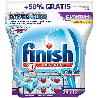 FINISH CALGONIT detergente lavavajillas Power Ball Quantum con oxígeno activo  bolsa 24 pastillas