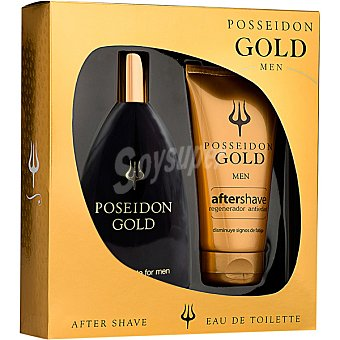 Posseidon Gold eau de toilette masculina + after shave frasco 50 ml Spray 150 ml