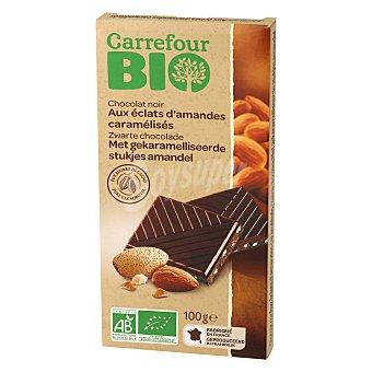 Carrefour Bio Chocolate negro con almendras caramelizadas ecológico 100 G 100 g