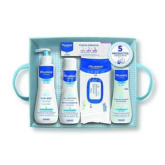 Mustela Bébé Canastilla bebé azul con 5 productos 1 unidad