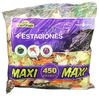 VERDIFRESH Ensalada 4 estaciones maxi (lechuga iceberg, zanahoria, col lombarda) Bolsa de 450 g
