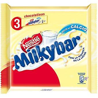 Milkybar Nestlé Chocolatinas de chocolate blanco pack 3 x 25 g 75 g Pack 3 x 25 g