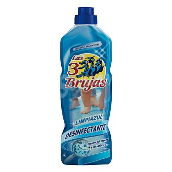 LAS 3 BRUJAS Limpiazul Limpiahogar con perfume cosmético desinfectante bactericida Botella 1 l