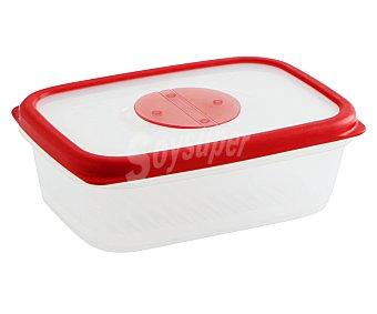 QUID Recipiente hermético rectángular de plástico con tapa modelo Frigo box, 1 litro, 19,5x13,8x6,6 centímetros 1 unidad