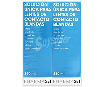 Pharmaset Solución única líquido para lentes de contacto blandas Pack 2 x 360 ml