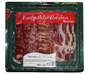 Auchan Surtido de ibéricos (paleta de cebo ibérica, lomo de cebo ibérico, chorizo de cerdo ibérico y salchichón de cerdo) 200 gramos