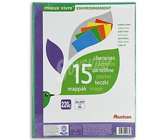 Auchan Lote de 15 carpetas de cartón de 220 gramos, tamaño A4 y de colores vivos 1 unidad