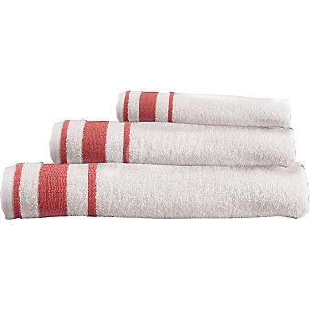 CASACTUAL Estrella juego de 3 toallas Jacquard en color blanco con cenefa en coral