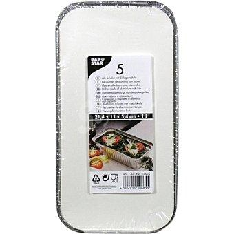 Papstar Recipiente de aluminio con tapa envase 5 unidades Envase 5 unidades