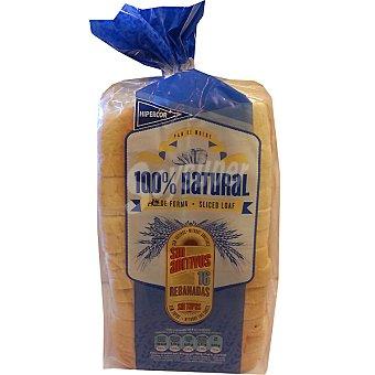 HIPERCOR pan de molde blanco 100% natural con corteza 16 rebanadas  bolsa 460 g