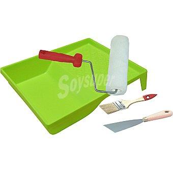 RULO PLUMA Kit de pintor compuesta de bandeja rodillo espatula y paletina