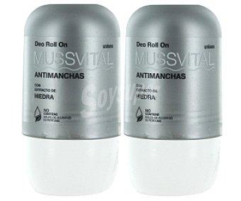 Mussvital Desodorante roll-on antimanchas con extracto de piedra Pack 75+75