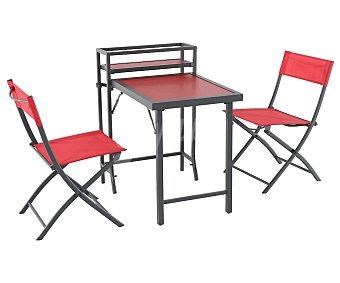 Garden Star Conjunto de balcón color rojo de 3 piezas compuesto por 2 sillas y mesa plegable star
