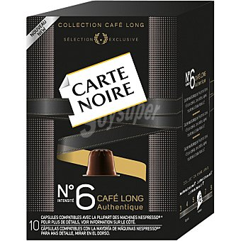 Carte Noire Long Authentique café intensidad 6 (53 gramos) 10 unidades