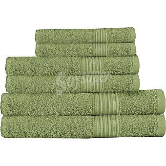 Casactual juego de 6 toallas lisas en color verde
