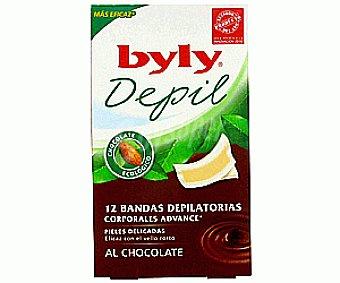 Byly Bandas Depilatorias Cera Fría Corporales al Chocolate 12u