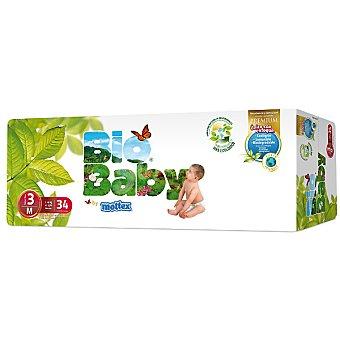 MOLTEX Bio Baby Pañales unisex de 7 a 10 kg talla 3 m ecológicos envase 34 unidades Envase 34 unidades