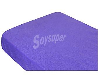 Auchan Sábana bajera ajustable de pirineo 100% poliéster, color lila, 150 centímetros AUCHAN.