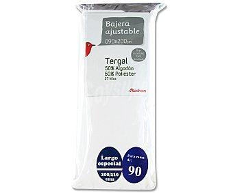 AUCHAN Sábana bajera ajustable, color blanco, 90 centímetros 1 Unidad