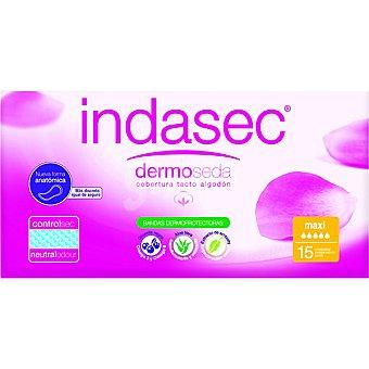 Indasec Compresa de incontinencia Dermo Seda maxi con aloe vera Caja 15 unidades