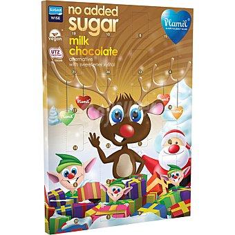 Plamil calendario de adviento de chocolate con leche sin azúcares añadidos caja  125 g