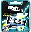 Recambio de afeitar 4 unidades Gillette Mach3