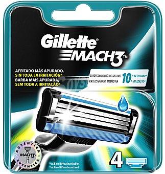 Gillette Mach3 Recambio de afeitar 4 unidades