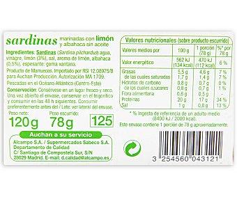Auchan Sardinas en aceite de girasol al limón Lata de 78 gramos peso escurrido