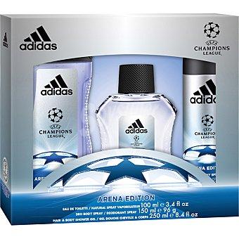ADIDAS UEFA Champions League Arena Edition eau de toilette natural masculina + shower gel frasco 250 ml + desodorante spray 150 ml spray 100 ml