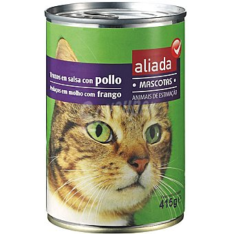 Aliada Alimento completo con pollo en salsa para gatos Lata 415 g