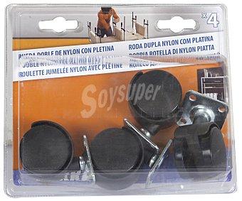 ARREGUI Pack de 4 ruedas dobles de nylon con pletina 1 Unidad