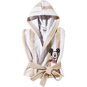 DISNEY Mickey albornoz infantil de 6 a 8 años en color blanco y beige