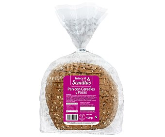 SEMILLAS Pan integral con cereales y pasas 400 gr